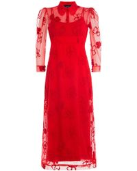 Simone Rocha - Dress With Sheer Floral Overlay - Lyst
