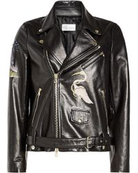 RED Valentino - Embroidered Leather Biker Jacket - Lyst