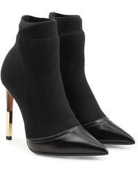 Balmain - Stiletto Ankle Boots In Leather And Mesh - Lyst