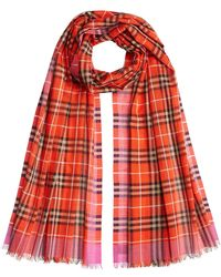 Burberry - Vintage Check Printed Wool-silk Scarf - Lyst