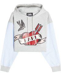 Karl Lagerfeld - Karl Sails Cropped Hoodie With Striped Shirt Sleeves - Lyst