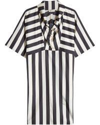 Nina Ricci - Striped Silk Dress With Funnel Neckline - Lyst