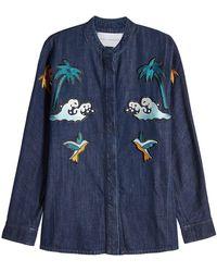 Victoria, Victoria Beckham - Embroidered Denim Shirt - Lyst
