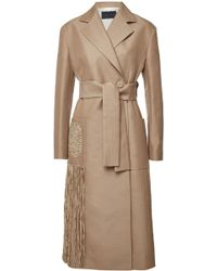 Proenza Schouler - Embroidered Belted Coat With Wool And Cotton - Lyst