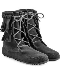 Minnetonka Double Fringe Tramper Suede Boots With Studs - Gray