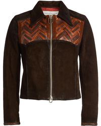 Golden Goose Deluxe Brand - Mira Suede Jacket With Leather - Lyst