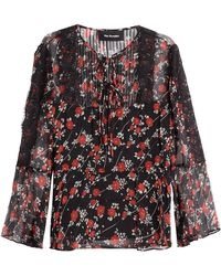 The Kooples - Patterned Silk Top With Lace - Lyst