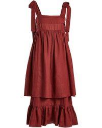 Three Graces London - Marianne Linen Dress - Lyst