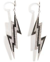 Lynn Ban - Sterling Silver Lightening Bolt Earrings With Diamonds - Lyst