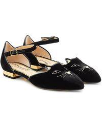 Charlotte Olympia - Mid Century Kitty D'orsay Velvet Sandals - Lyst