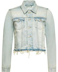 a9c3489be441c Lyst - Off-White c o Virgil Abloh Cropped Cotton Denim Jacket in Blue