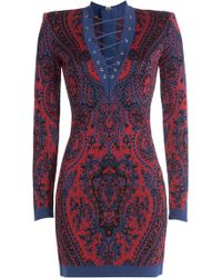 Balmain - Mini Dress With Lace-up Front - Lyst