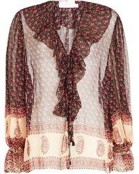 ec940607cc3dcb Lyst - Banjanan Jaya Contrast Floral   Avian Print Tie Short-sleeve ...