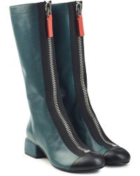 Marni - Leather Knee Boots With Zippers - Lyst