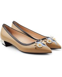 Fendi - Studded Leather Ballerinas - Lyst