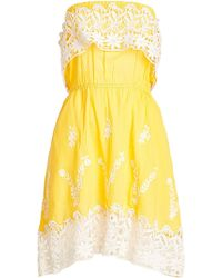 Christophe Sauvat - Embroidered Cotton Dress With Lace - Lyst