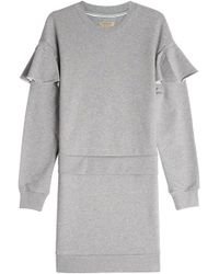 Burberry - Cotton Sweat Dress With Ruffles - Lyst