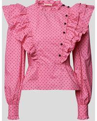 Custommade• Bluse mit Puffärmeln - Pink