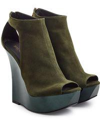 Balmain - Suede Wedge Sandals - Lyst