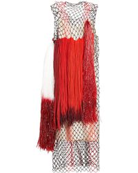 CALVIN KLEIN 205W39NYC - Dress With Mesh And Fringing - Lyst