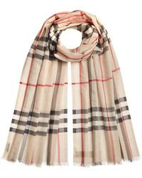 Burberry - Giant Check Gauze Scarf In Wool-silk - Lyst
