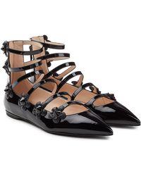 Fendi - Embellished Patent Leather Ballerinas - Lyst