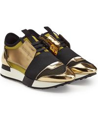 Balenciaga - Race Runner Sneakers With Metallic Leather And Satin - Lyst