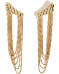 Nikos Koulis | 18kt Yellow Gold Star Earrings With White Diamonds | Lyst