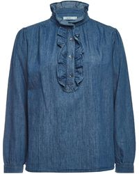 Closed - Denim Blouse With Cotton And Linen - Lyst