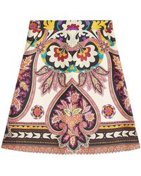 Etro - Printed Wool And Silk Skirt - Lyst