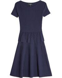 Paule Ka - Ribbed Dress With Silk - Lyst