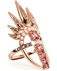 Nikos Koulis - 18kt Pink Gold Spectrum Ring With Diamonds And Tourmaline - Lyst