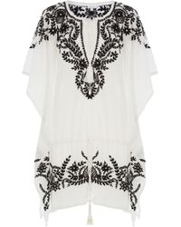 Star Mela - Embroidered Cotton Tunic Dress - Lyst