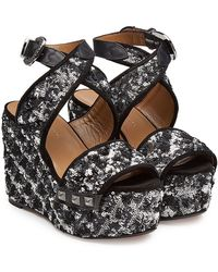 Sonia Rykiel | Embellished Wedge Sandals With Leather | Lyst