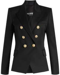 Balmain - Virgin Wool Blazer With Embossed Buttons - Lyst