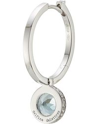 Delfina Delettrez | Seal 18kt White Gold Hoop Earring With Aquamarine And White Diamonds | Lyst