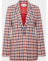 Victoria, Victoria Beckham Blazer mit Karo-Muster - Rot