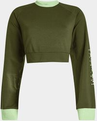 Fenty Cropped Sweatshirt aus Baumwolle mit Schnürdetail - Grün
