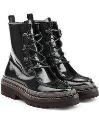 Brunello Cucinelli - Patent Leather Ankle Boots - Lyst