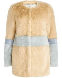 Shrimps - Fake Fur Colour Block Coat - Lyst