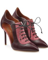 Malone Souliers - Suede And Leather Lace-up Court Shoes With Cut-outs - Lyst