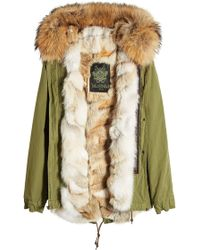 Mr & Mrs Italy - Army Mini Cotton Parka With Raccoon And Coyote Fur - Lyst