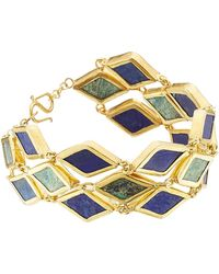Pippa Small - Gold Plated Silver Bracelet With Chrysocolla And Lapis - Lyst