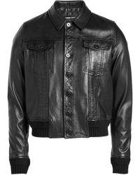 Saint Laurent - Leather Blouson With Knit Cuffs - Lyst