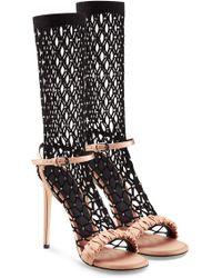 Marco De Vincenzo - Satin Sandals With Embellished Net Socks - Lyst