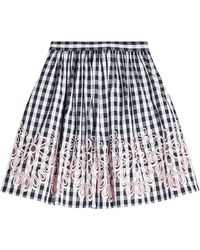 Boutique Moschino - Embroidered Gingham Skirt - Lyst