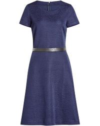 HUGO - Textured Dress With Leather Belt - Lyst