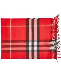 Burberry - Checked Cashmere Scarf With Fringe - Lyst