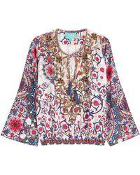 Taj - Embellished Printed Silk Top - Lyst