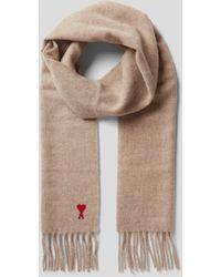 AMI Schal mit Label-Stitching - Natur